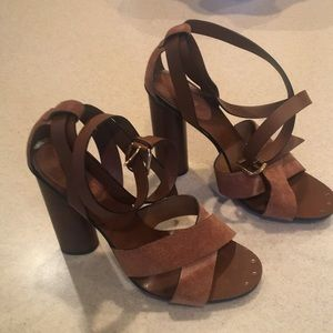 Gucci brown suede aviator stacked heel, size 39